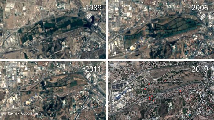 Atatürk Orman Çiftliği'nde yıllar içinde yaşanan ağaç kaybı, uydu görüntülerine böyle yansıdı.