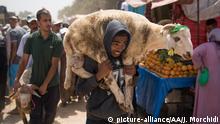 RABAT, MOROCCO - AUGUST 19: A man carries a goat at a livestock market ahead of Eid al-Adha (Feast of Sacrifice) in Al-Nahda town of Rabat, Morocco on August 19, 2018. Jalal Morchidi / Anadolu Agency | Keine Weitergabe an Wiederverkäufer.