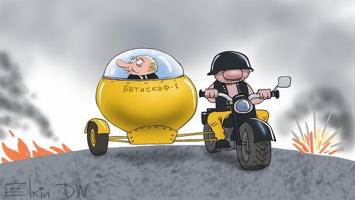 Putin auf dem Motorrad auf der Krim