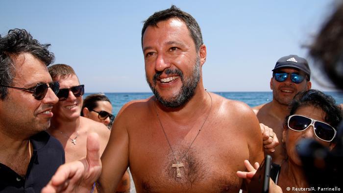 Italy's Interior Minister Matteo Salvini at the beach