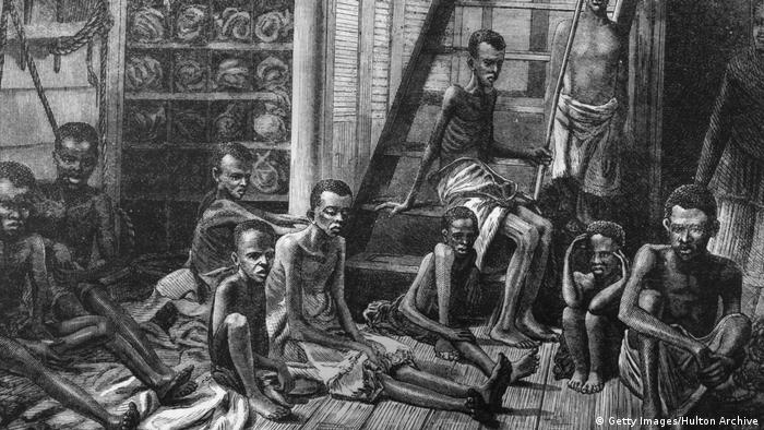 A picture from 1973 depicting emaciated slaves from East Africa aboard a dhow