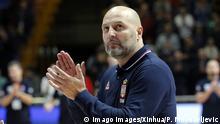 (181204) -- BELGRADE, Dec. 4, 2018 -- Serbia s head coach Aleksandar Djordjevic applauses during FIBA World Cup basketball qualifying match between Serbia and Greece in Belgrade, Serbia, on Dec. 3, 2018. Serbia won 84-61. ) (SP)SERBIA-BELGRADE-BASKETBALL-FIBA WORLD CUP 2019-QUALIFIERS PredragxMilosavljevic PUBLICATIONxNOTxINxCHN