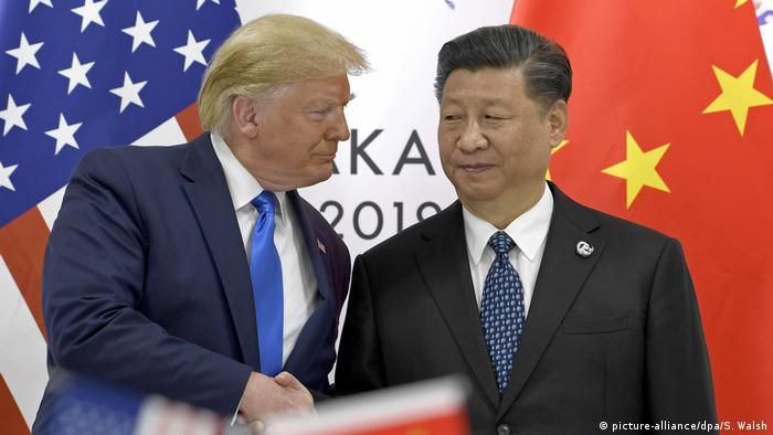 US President Donald Trump and Chinese President Xi Jinping pictured at the G-20 in June 2019