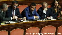 Speech of the Minister of Internal Affairs Matteo Salvini that proposed the vote of no confidence, surrounded by his senators Rome August 13th 2019. Senate. Vote to allow ore deny the Motion of no confidence to the Italian Government proposed by the Lega Nord party. Foto Samantha Zucchi Insidefoto PUBLICATIONxNOTxINxITA SamanthaxZucchi
