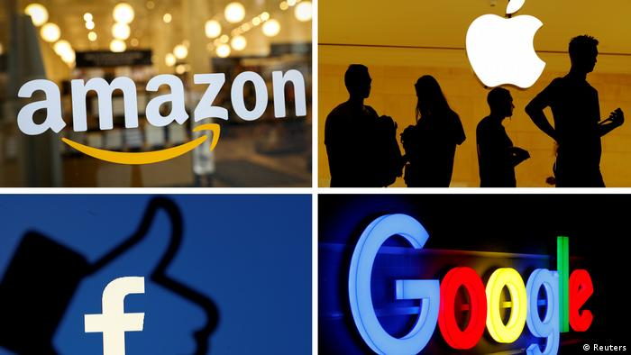The logos of Amazon, Apple, Facebook and Google are seen in a combination photo
