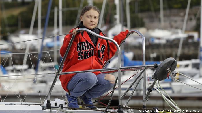 Greta Thunberg a bordo del Malizia II