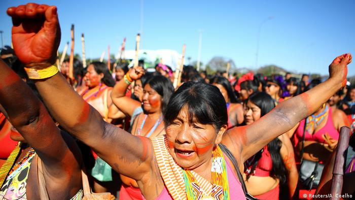 Indigenous women protest in Brasilia, August 2019