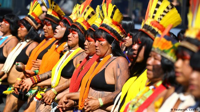 Tribal women protested Bolsonaro's plans to open indigenous lands for mining