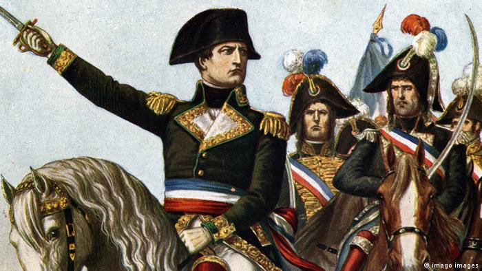 A painting of Napoleon Bonaparte leading the War of the first coalition in 1796