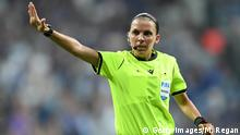 ISTANBUL, TURKEY - AUGUST 14: Match referee, Stephanie Frappart reacts during the UEFA Super Cup match between Liverpool and Chelsea at Vodafone Park on August 14, 2019 in Istanbul, Turkey. (Photo by Michael Regan/Getty Images)