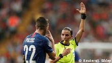 Soccer Football - UEFA Super Cup - Liverpool v Chelsea - Vodafone Arena, Istanbul, Turkey - August 14, 2019 Chelsea's Christian Pulisic remonstrates with referee Stephanie Frappart after he scored a goal that was disallowed after referral to VAR Action Images via Reuters/John Sibley