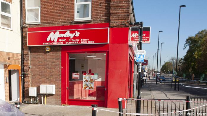 Morley's fast food restaurant in Bellingham, UK, shown taped off following a fatal 2017 stabbing there