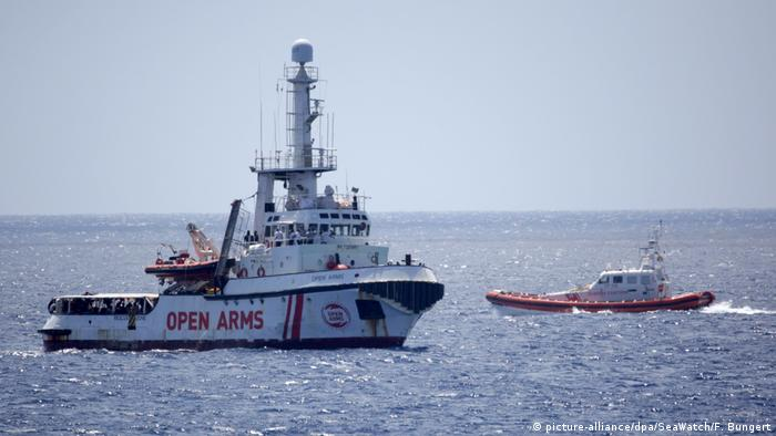 The migrant rescue ship Open Arms near the Italian island of Lampedusa