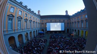 Das Bonner Stummfilmfestival im Hofgarten der Bonner Uni, zahlreiche Besucher vor der Kinoleinwand (Filmfest Bonn/S.Nassan)