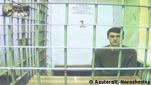 Student und Blogger Zhukov während einer Gerichtsverhandlung