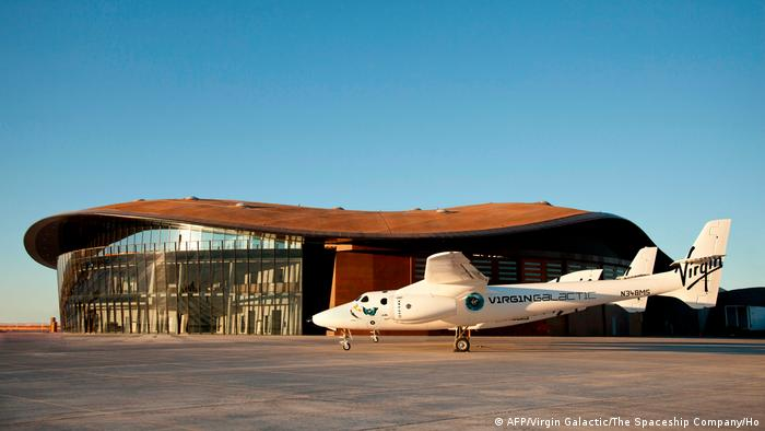 Virgin Galactic's space plane sits parked outside the company's Spaceport America facility (AFP/Virgin Galactic/The Spaceship Company/Ho)