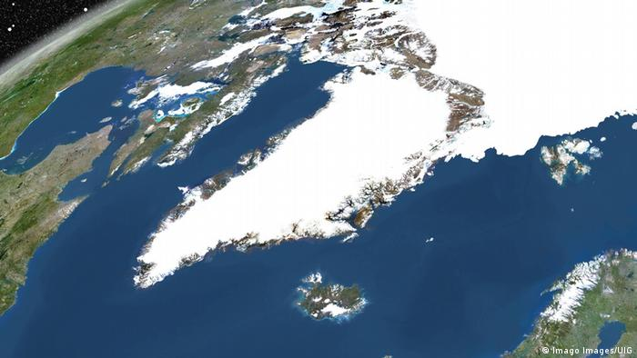 True colour satellite image of the Earth showing Greenland