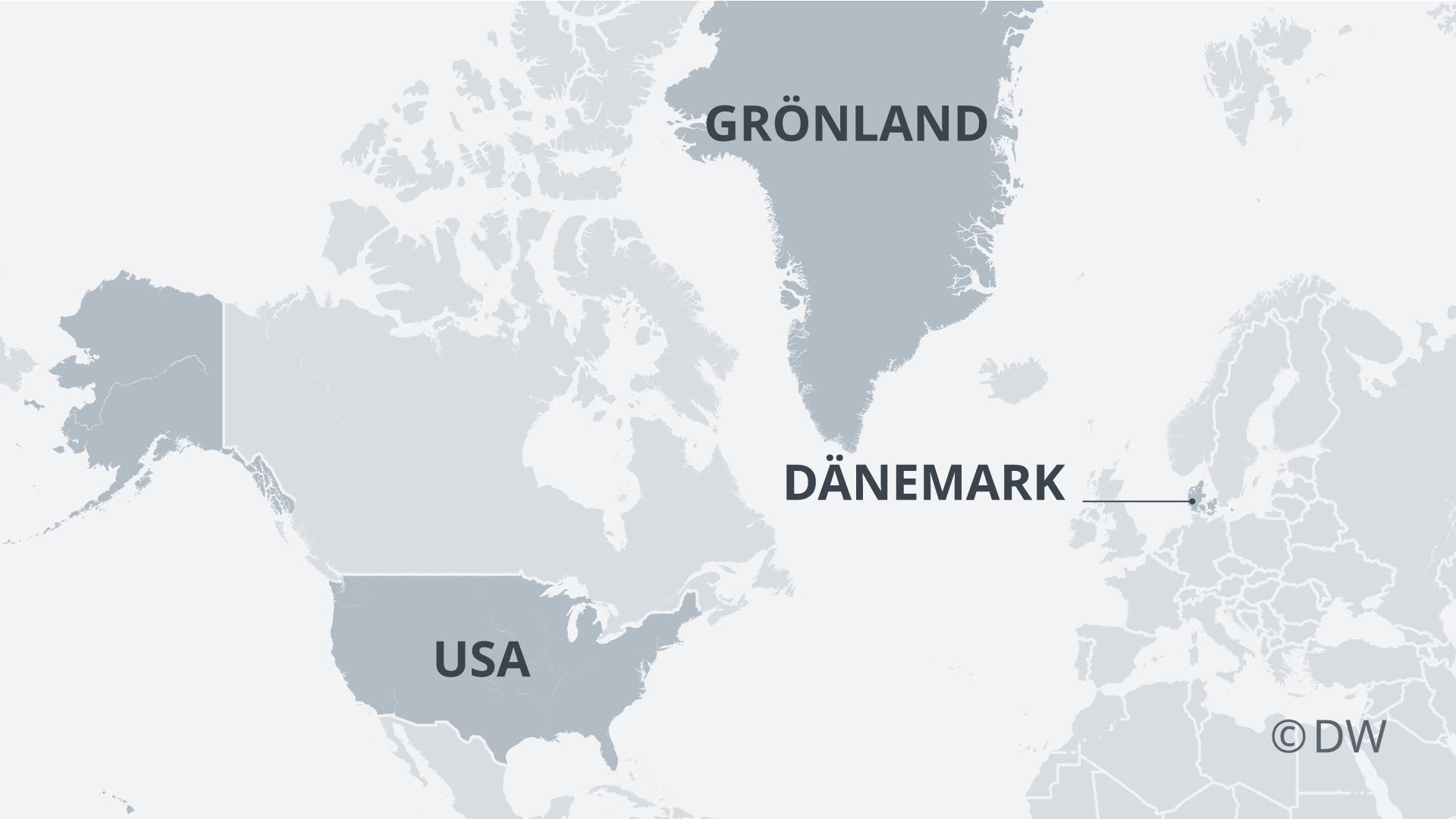 Karte USA-Grönland-Dänemank