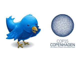 Logos of Twitter and COP15