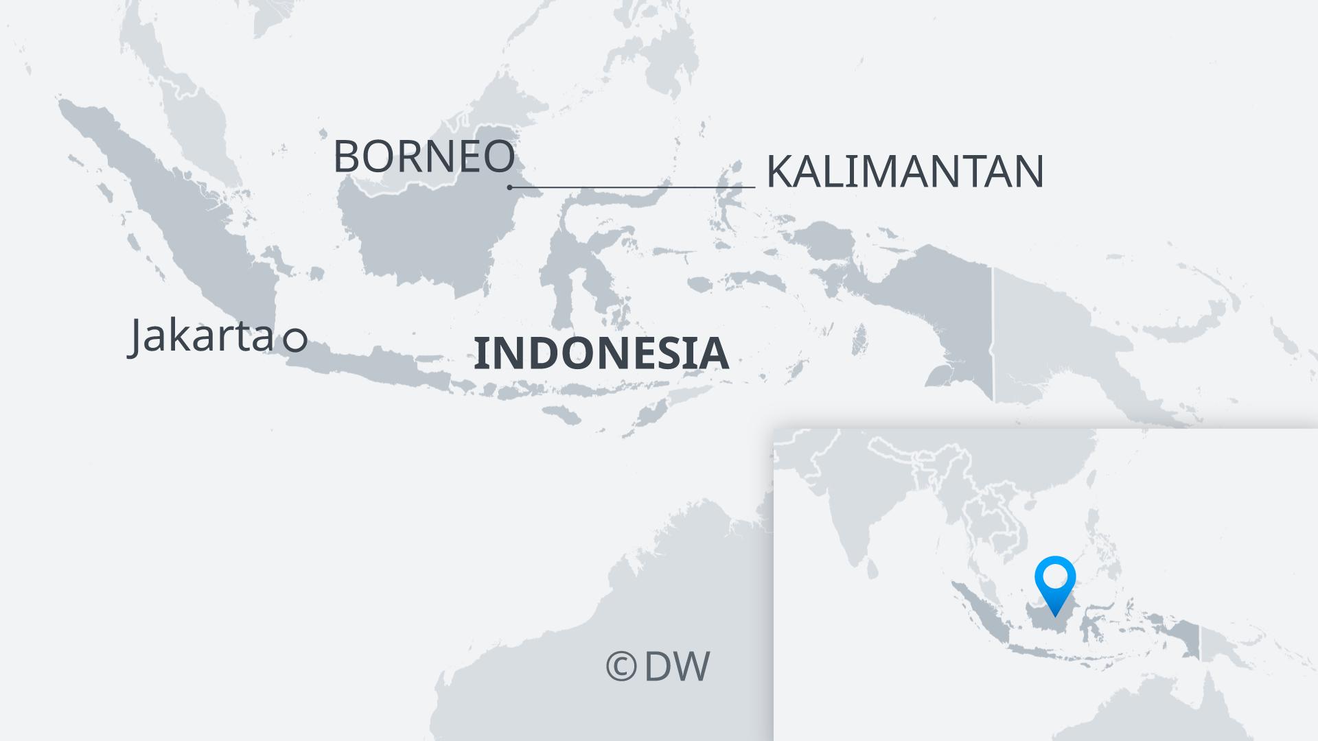 Infografik Karte Indonesien mit Borneo und Kalimantan EN