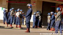 16.08.2019+++ Riot police patrol the streets after police earlier banned planned protests by the opposition party Movement for Democratic Change (MDC) in Harare, Zimbabwe, August 16, 2019. REUTERS/Philimon Bulawayo