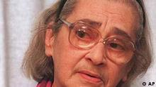 This 1994 picture shows Yelena Bonner, the widow of physicist and Nobel Peace Prize winner Andrei Sakharov, in Moscow. Bonner was hospitalized in Moscow early Tuesday, July 30 1996, after suffering a minor heart attack. Bonner and Sakharov were both persecuted as dissidents in the Soviet era, and Bonner has continued to champion human rights causes since her husband's death in 1989. (AP Photo/Sergei Karpukhin)