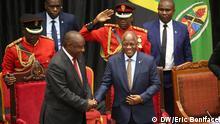 Tansania südafrikanische Präsident Cyril Ramaphosa (links) und der tansanische Präsident John Pombe Magufuli