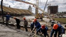 A general view of NSC Olympiyskiy stadium reconstruction in Kiev, Ukraine, 04 June 2009 where the matches of EURO 2012 are to be held. The stadium also will be the site of the competition?s final game providing construction work is completed on time, UEFA officials have said. EPA/SERGEY DOLZHENKO +++(c) dpa - Report+++ pixel