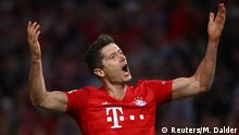 Bayern Munich vs Hertha Berlin: Robert Lewandowski celebrates his goal, the first of the Bundesliga season. (Reuters/M. Dalder)