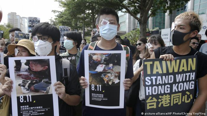 Taiwan | solidarische Proteste mit Hong Kong in Taipeh (picture-alliance/AP Photo/Chiang Ying-Ying)