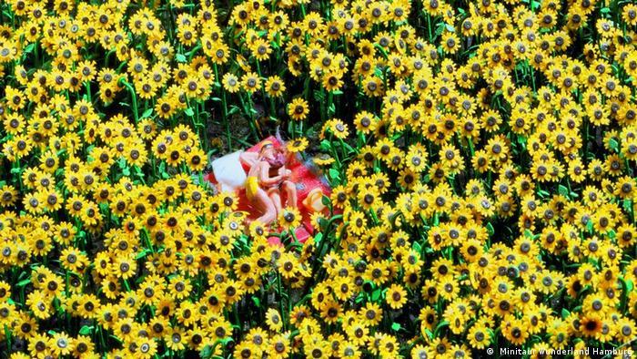 A couple in a sunflower field - figurines in Miniatur Wunderland ( Miniatur Wunderland Hamburg)