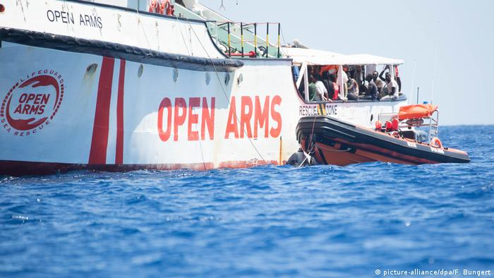 The Spanish rescue ship Open Arms off the coast of the Italian island of Lampedusa