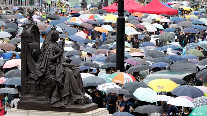 Millions of protesters gathered in peace at Victoria Park in Kong Kong on Sunday despite heavy rain.