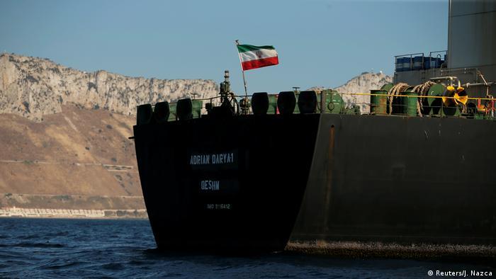 Spanien Gibraltar | In Adrian Darya 1 umbenannter Grace 1 Supertanker (Reuters/J. Nazca)
