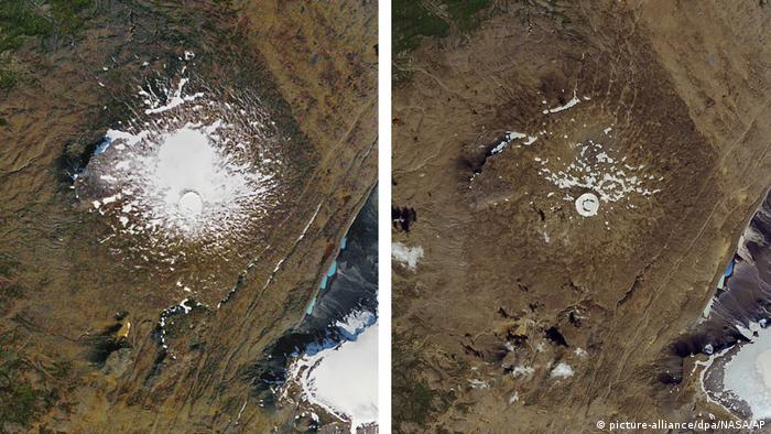 Aerial pictures of the Okjokull glacier taken in1986 & 2019