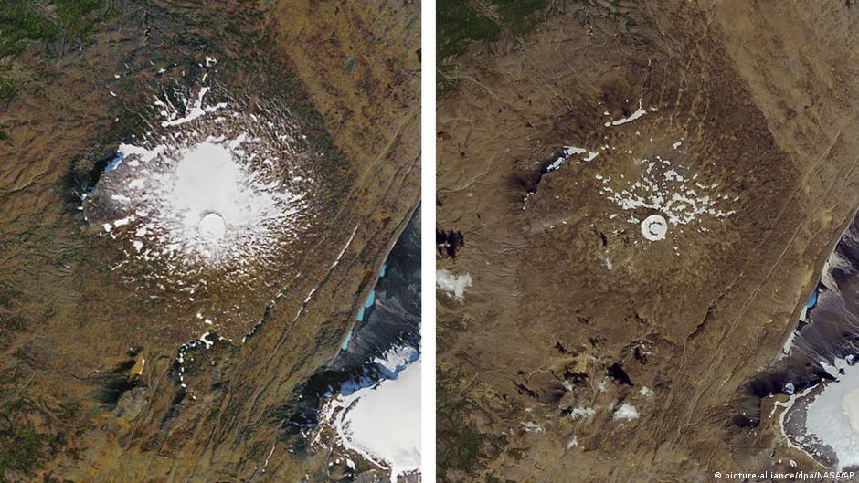 Island Luftaufnahme Gletscher Okjökull | 1986 & 2019