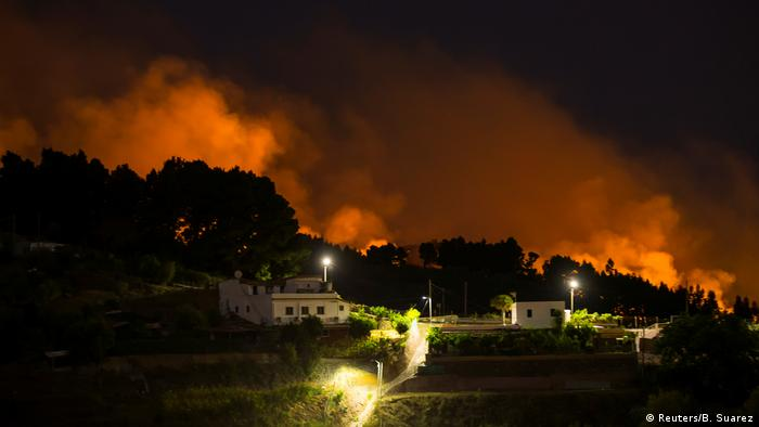 Flames and smoke from a forest fire are seen in the village of Valleseco, in the Canary Island of Gran Canaria, Spain (Reuters/B. Suarez)