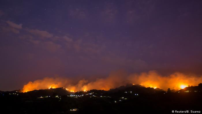 A wildfire rages on Gran Canaria
