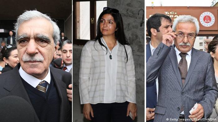 Уволнените кметове Ахмет Тюрк (Мардин), Бедиа Ертан (Ван), Аднан Селджук Мизракли (Диарбекир)