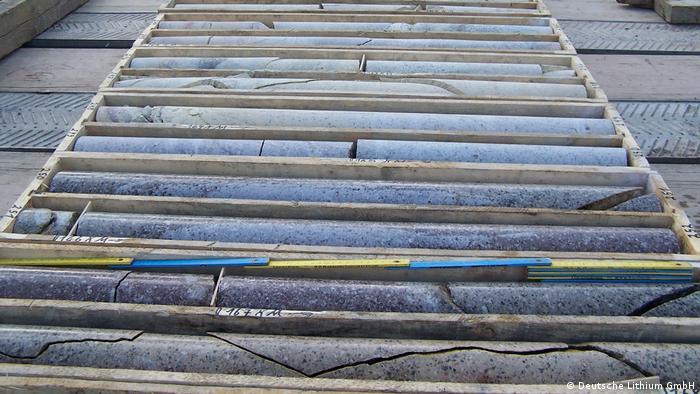 Muestras extraidas de la zona minera de Zinnwald con las que se puede comprobar el contenido de litio.