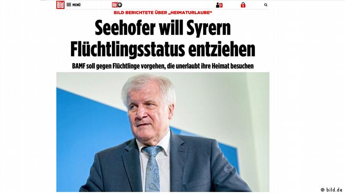 Bild-Zeitung berichtet über Seehofer (bild.de)