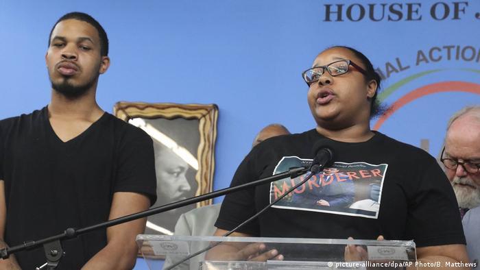 Eric Garner Jr and his sister Emerald Garner at a press conference in New York
