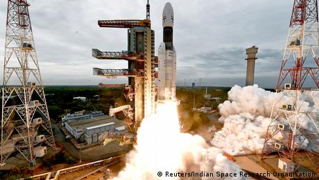 India's Satellite Launch Vehicle blasts off carrying Chandrayaan-2 from the Satish Dhawan space centre at Sriharikota