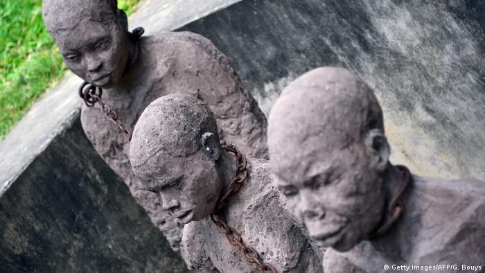 Three statues of slaves in Zanzibar