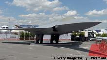 A full-scale model of the Future Combat Air System (FCAS) presented at an air show in Paris
