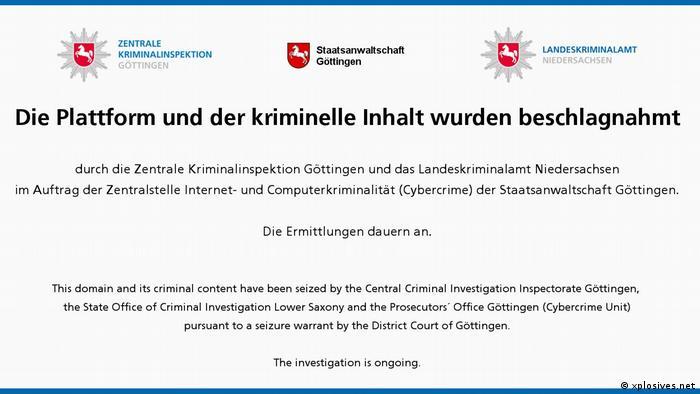 Screenshot of police notice at the website xplosives.net