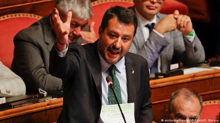 Far-right League leader Matteo Salvini speaks at the Senate in Rome, Italy