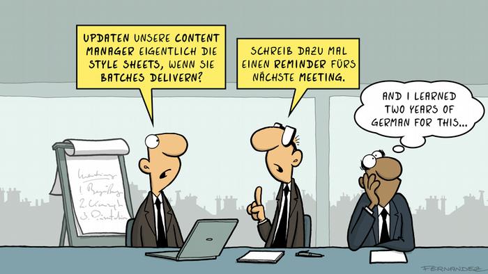 DW Euromaxx Comics von Fernandez That´s so german Denglish ENGLISCH