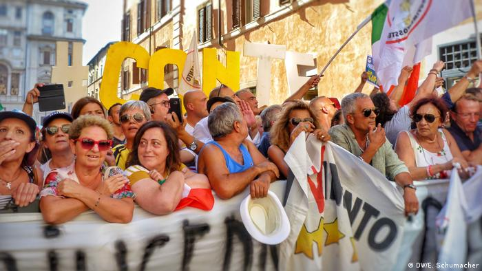M5S supporters protest the resignation of Prime Minister Conte
