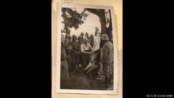 Pessoa carneando porco pendurado em árvore com soldados em volta
